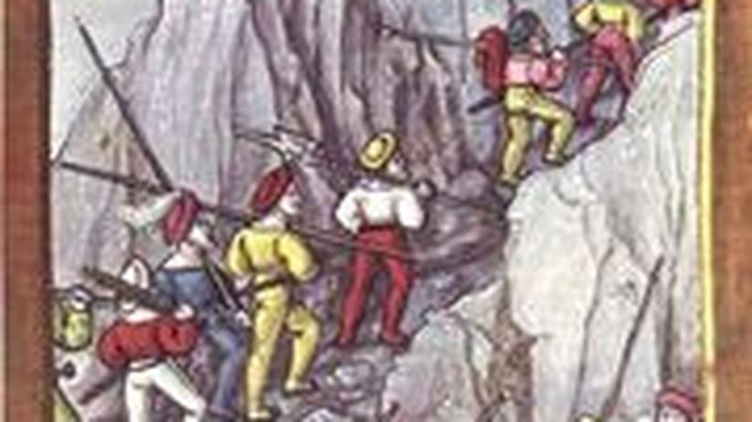 Schweizer Söldner: Nach der Eroberung von Cremona verlassen eidgenössische Söldner heimlich das französische Heer und ziehen über das Gebirge nach Hause. (Diebold Schilling der Jüngere, 1513)