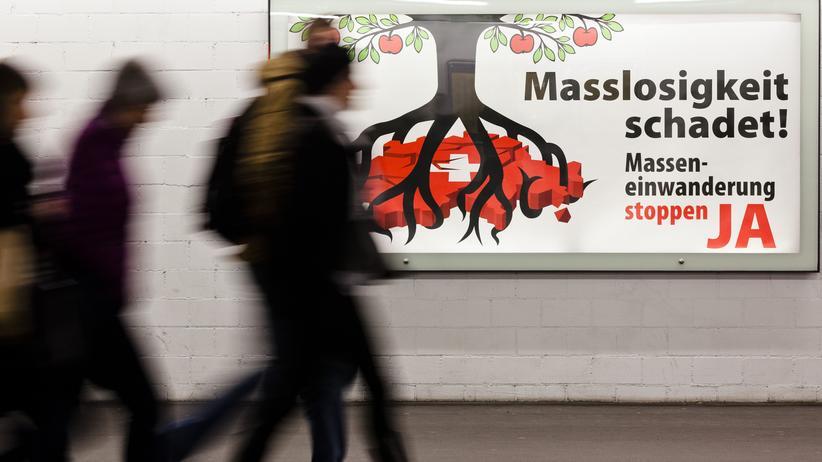 Plakat für die SVP-Masseneinwanderungs-Initiative