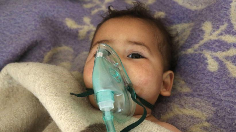 Terrorism: A Syrian child receives treatment at a small hospital in the town of Maaret al-Noman following a suspected toxic gas attack in Khan Sheikhun, a nearby rebel-held town in Syrias northwestern Idlib province, on April 4, 2017.