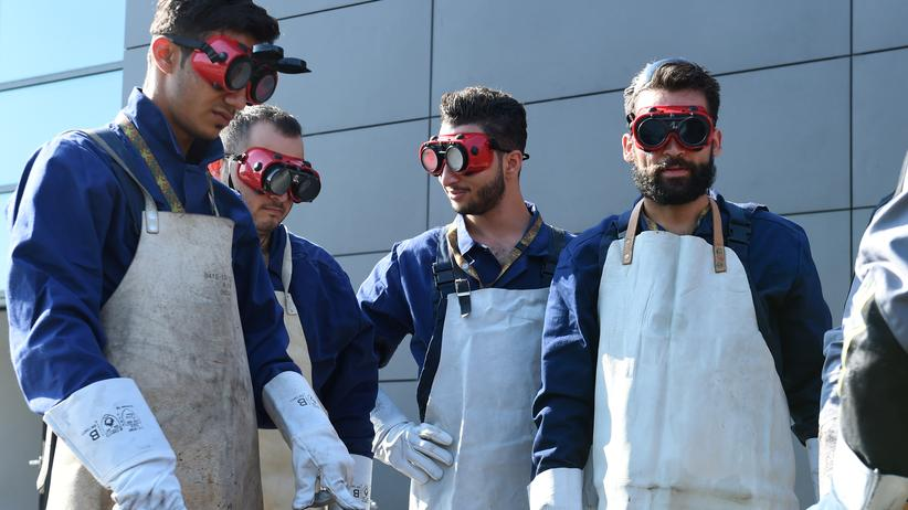 Willkommenskultur: Flüchtlinge aus Syrien im Bildungszentrum der Ingenieurkräfte der Bundeswehr in Ingolstadt.
