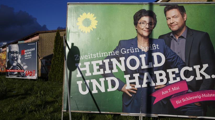 Die Grünen: Wahlplakate von SPD und Grünen in Schleswig-Holstein