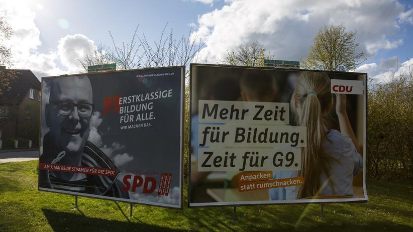 SPD in Schleswig-Holstein: Wahlplakate von SPD und CDU in Schleswig-Holstein