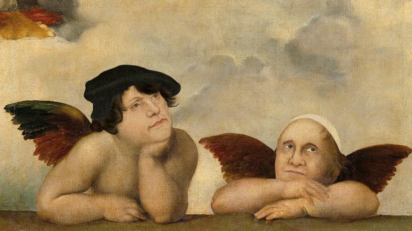 Ökumene: Verträumt wie Raphaels Engel schauen Papst Franziskus und Martin Luther in die ökumenische Zukunft.