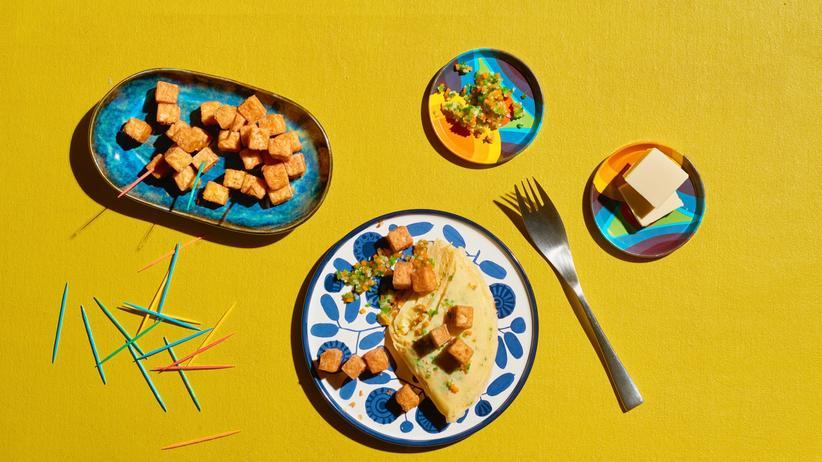 Omelett mit Tofu und Gemüsefond: Gemüsiges Grundgefühl