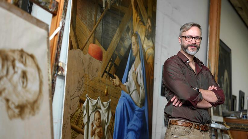 Michael Triegel: Michael Triegel in seinem Atelier in der Leipziger Baumwollspinnerei