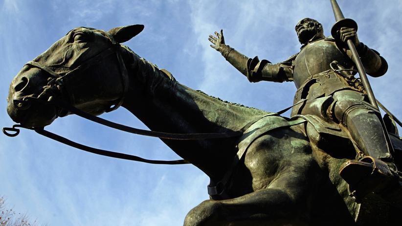 """""""Literarische Musterung"""": Die Statue des Romanhelden Don Quijote in Madrid"""