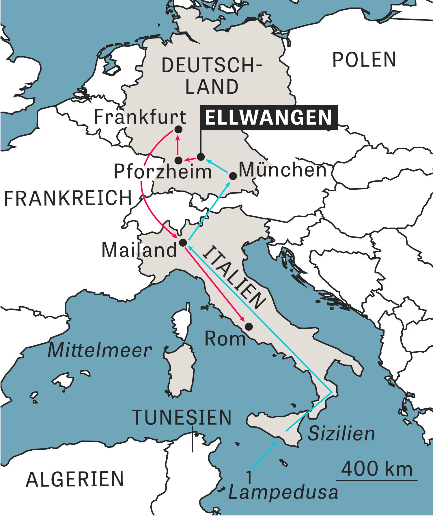 Ellwangen: Deutschland erreichte der Asylbewerber über Italien (blaue Linie), dorthin wurde er jetzt wieder abgeschoben (rote Linie).