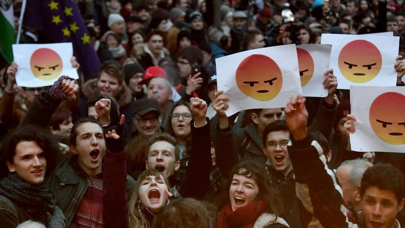 Ungarn: Studentinnen und Studenten protestieren in Budapest gegen Ungarns Regierung