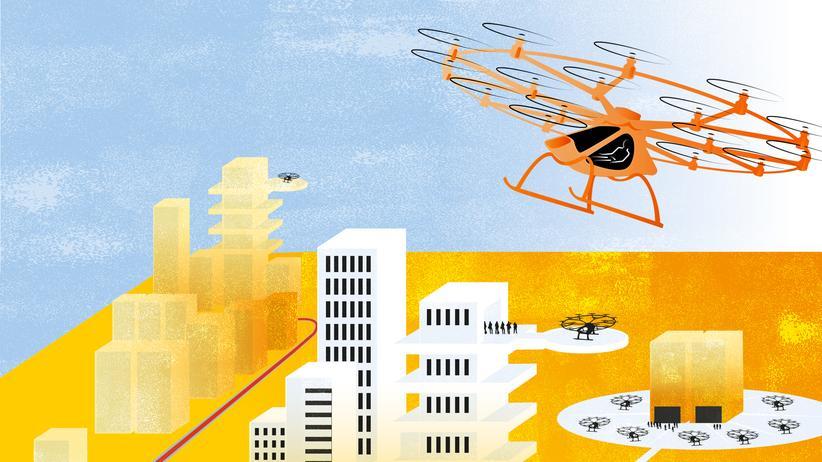 Erste Prototypen von Lufttaxis bieten Platz für zwei Personen und gleichen überdimensionalen Drohnen. Sie werden von kleinen Elektro-Rotoren mit einem Gesamtdurchmesser von zehn Metern angetrieben. Starten sollen sie von sogenannten Hubs aus, landen könnten sie auf Dächern oder Plattformen von Hochhäusern.