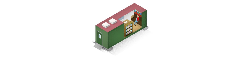 """Antarktis Station """"Neumayer III"""": Seit 2005 steht der grüne Container hier. Er ist ein Projekt des Kölner Künstlers Lutz Fritsch und in ihm befindet sich eine Bibliothek als Arbeits- und Rückzugsraum für die Crew."""