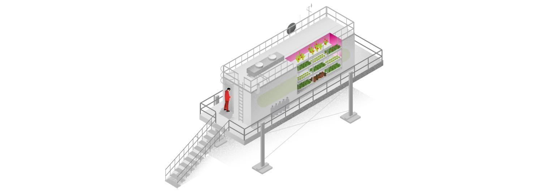 """Antarktis Station """"Neumayer III"""": Im Eis wird das All simuliert, etwa beim Experiment """"Eden ISS"""". In dem Gewächshaus wachsen Tomaten, Radieschen und Salat. Nährlösung und Magentalicht dienen als Dünger."""