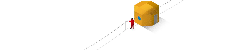"""Antarktis Station """"Neumayer III"""": Bei Schneefall und hohen Windgeschwindigkeiten verschwindet der Horizont, die Sichtweite sinkt auf Zentimeter. Dann bieten Handleinen überlebenswichtige Orientierung."""