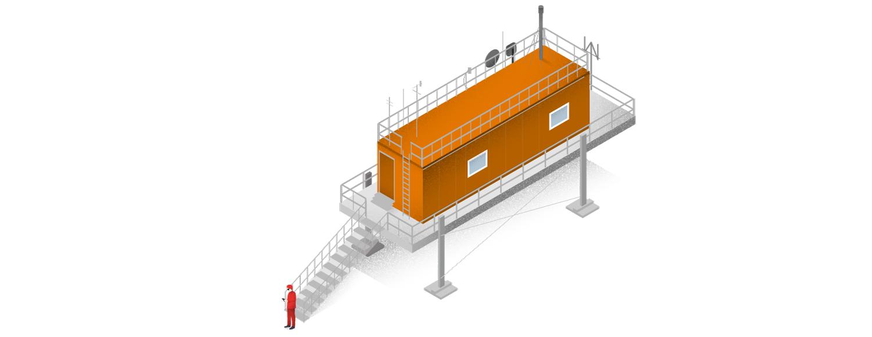 """Antarktis Station """"Neumayer III"""": Hier wird die Konzentration feinster Partikel (""""Spurenstoffe"""") in der Luft gemessen."""