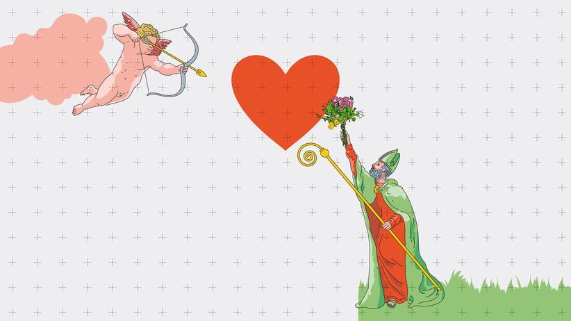 Valentin und Amor: Amor zielt mit seinem Pfeil mitten ins Herz. Und Valentin?