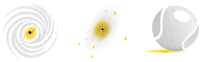 Schwarze Löcher: Schwarze Löcher sind ausgebrannte, kollabierte Sterne. Übertrifft ihre Masse die der Sonne ums Zehntausendfache, sprechen Astrophysiker auch von supermassereichen Schwarzen Löchern. Selbst Objekte mit Milliarden Sonnenmassen sind bekannt. Sechs dunkle Riesen hat das EHT ins Visier genommen. Besonderes Interesse gilt zweien von ihnen. Sagittarius A* (links im Bild)  heißt das Schwarze Loch im Zentrum unserer Milchstraße. Seine Masse ist so groß wie die von vier Millionen Sonnen. Inmitten der Galaxie Mercier 87 (Mitte) sitzt ein Schwarzes Loch von gar sechs Milliarden Sonnenmassen, das einen gut sichtbaren Teilchenstrom ausstößt (sogenannter Jet, s.u.). Die beiden sind unterschiedlich groß und unterschiedlich weit von der Erde entfernt. Von hier aus betrachtet erscheinen sie aber etwa gleich klein: so wie ein Tennisball (rechts)auf der Oberfläche des Mondes.