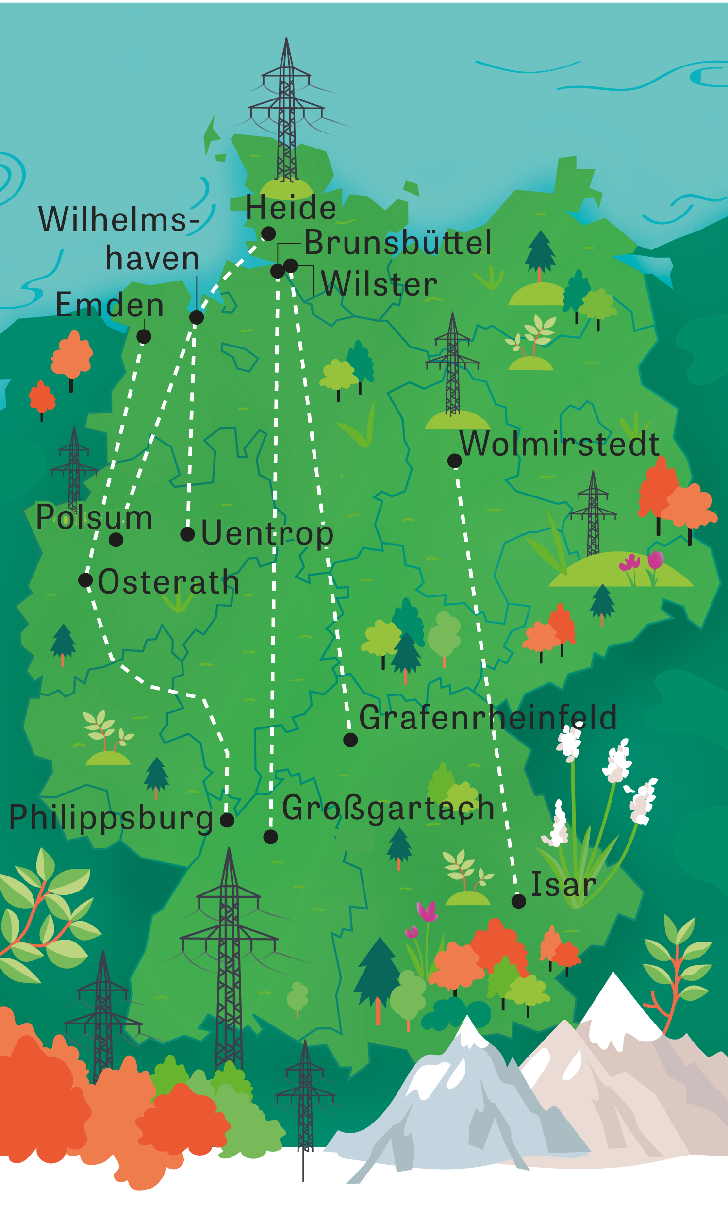 Energiewende: Die Streckenverläufe der geplanten Stromautobahnen durch Deutschland