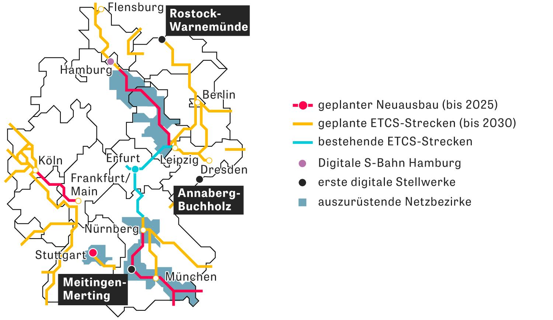 Deutsches Schienennetz: Hier werden gerade (oder in den nächsten Jahren) Strecken digitalisiert.