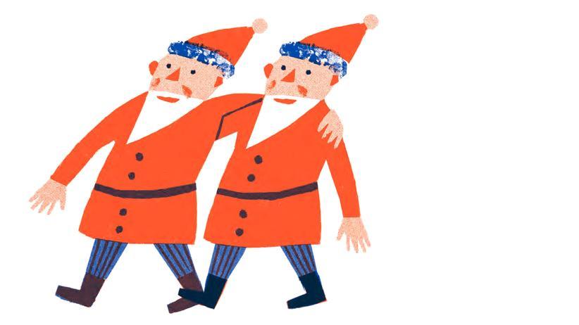"""""""Vier Kerzen, drei Könige, zwei Augen, ein Stern"""": Zwei Weihnachtsmänner gesehen. Wie konnte das geschehen?"""