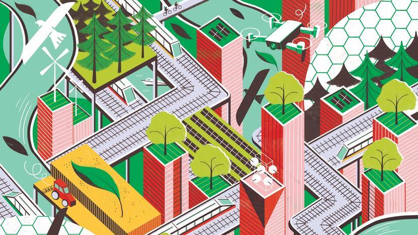 Großstädte: Grüne Dächer, breite Radwege und Solaranlagen – für die Rettung der Menschheit schon mal ein Anfang.