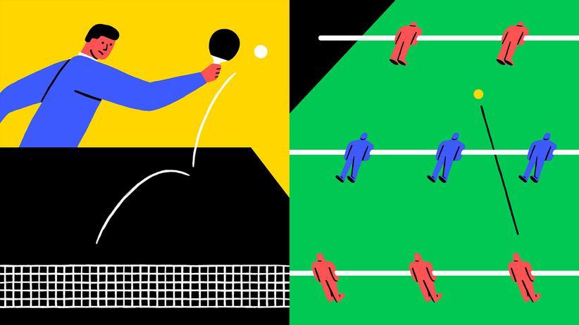 Spiele im Büro: Vielleicht der schönste Moment im Büro: Die Tastatur gegen einen Ping-Pong-Schläger eintauschen
