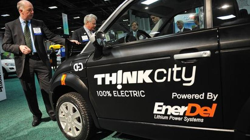 Das Elektroauto Think City im Januar 2010 auf der Automesse in Washington
