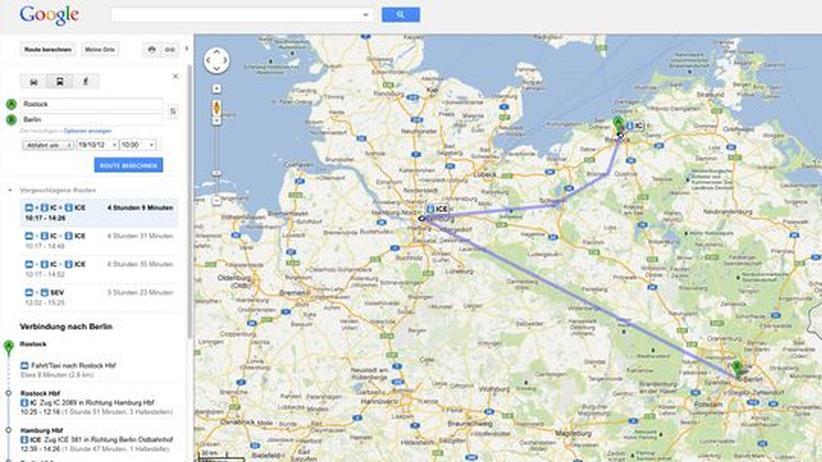 Google-Routendienst: Mit dem Zug von Rostock nach Berlin über Hamburg