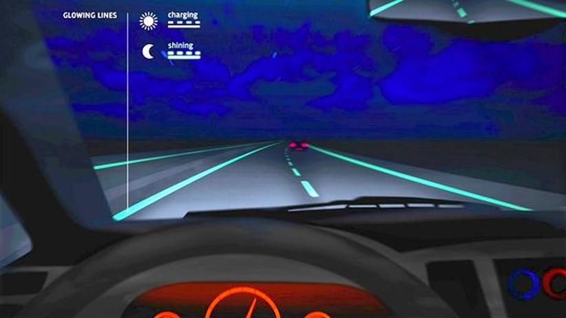 Verkehrsinfrastruktur: Die Straße leuchtet und teilt sich mit