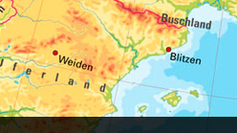 Geografie: Der »Atlas der wahren Namen«. Für eine größere Ansicht der Europakarte, klicken Sie bitte auf das Bild