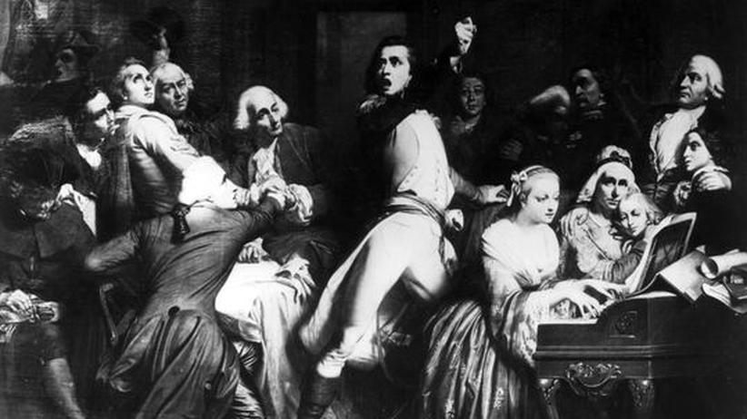 Marseillaise: Straßburg, 26. April 1972: Der Soldat Claude Joseph Rouget De Lisle (1760 - 1836) trägt zum ersten Mal die von ihm komponierte Marseillaise vor; aus einmal Gemälde von Godfroid Griffins