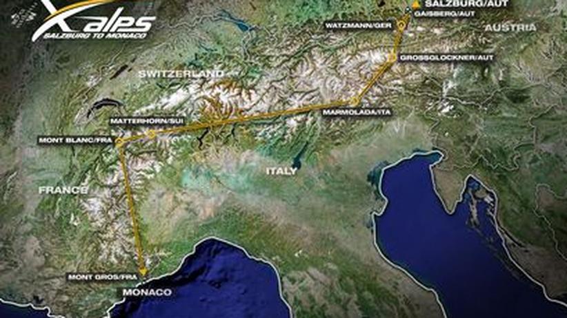 Sie Strecke der X-Alps-Starter: Alle zwei Jahre machen sich 30 Athleten aus aller Herren Länder auf den Höllentrip