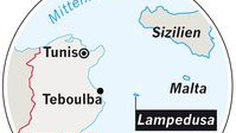 Karte: Insel Lampedusa zwischen Malta und Tunesien