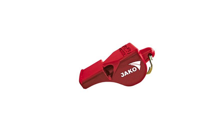 Eine rote Trillerpfeife mit dem alten Jako-Logo: Frank Baade hatte sich in seinem Webblog abfällig über das neue Jako-Logo geäußert. Anpfiff für einen bizarren Rechtsstreit