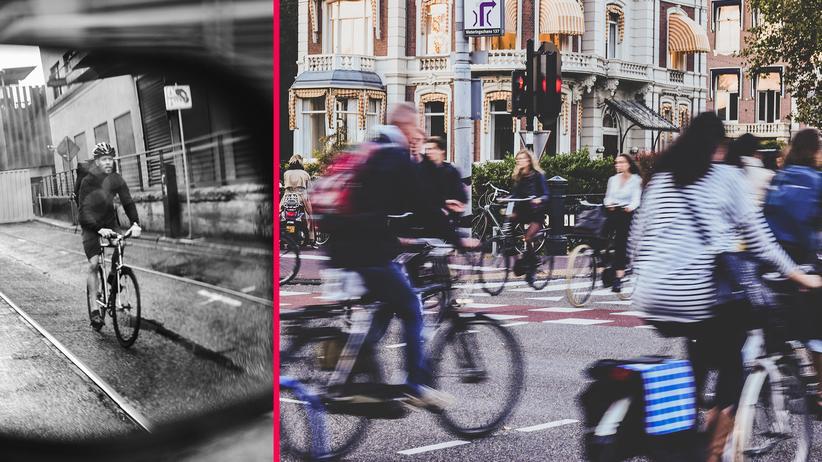 Radfahren: Der Blick in den Spiegel reicht nicht: Wer wie die Niederländer aus dem Auto aussteigt, vergisst nie wieder den Schulterblick.