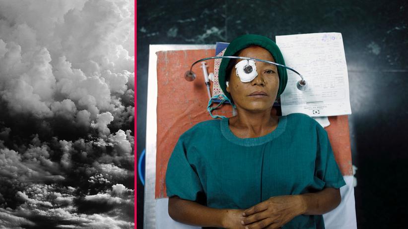 Gesundheitsversorgung: Eine Frau in der nepalesischen Hauptstadt Kathmandu nach einer Augen-OP. Im globalen Süden fehlt vielen Menschen der Zugang zu sicheren Operationen.