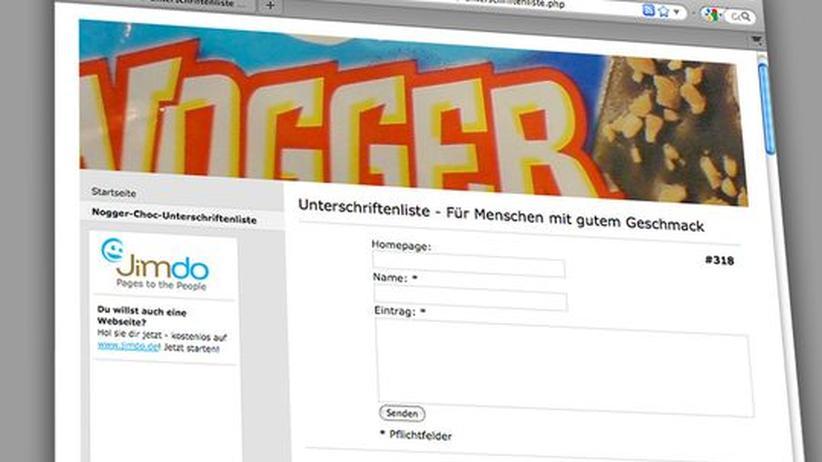 """Netzdemokratie: Eine Unterschriftenliste im Netz für die Wiedereinführung der Eismarke """"Nogger Choc"""""""