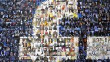 Facebook-Logo aus einer Collage von Profilbildern