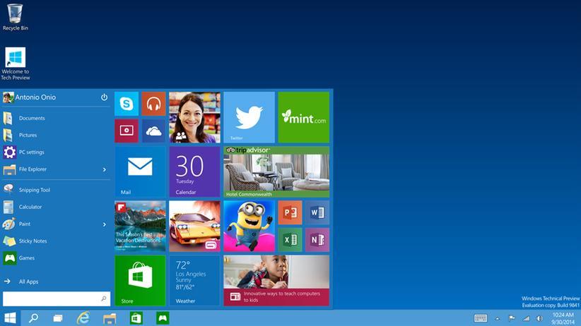 Microsoft-Betriebssystem: Windows 10 führt das Startmenü wieder ein.