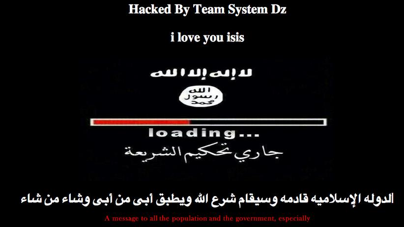 Cyber-Attacke: Screenshot einer gehackten Webseite mit islamistischen Botschaften
