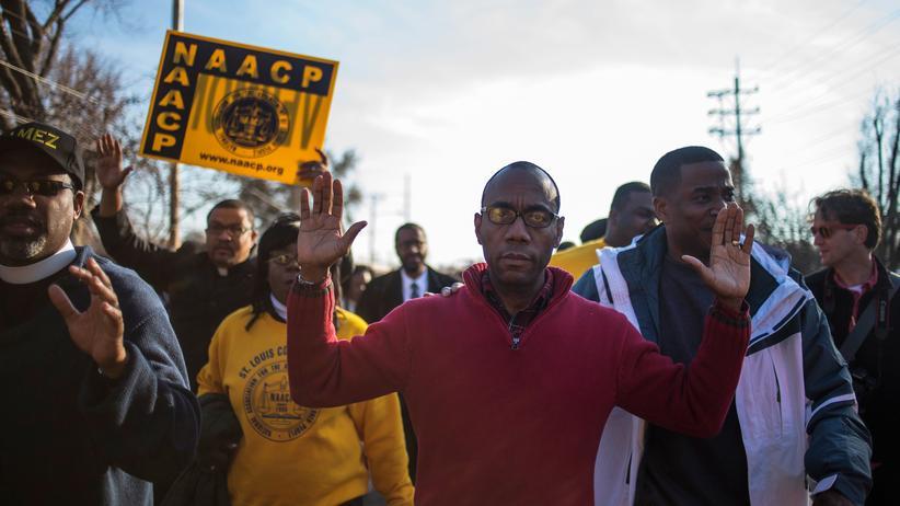 Geofeedia: Demonstranten auf einem Marsch in Ferguson