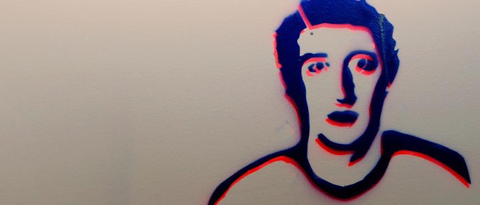 Zuckerberg-Zeichung in Facebooks Unternehmenssitz in Menlo Park