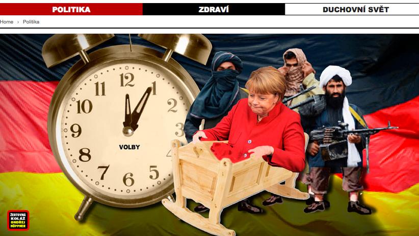 Fotomontage aus einer tschechischen Propagandaseite gegen Angela Merkel