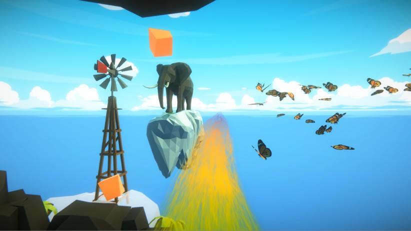 """Virtual Reality: Was man sieht, wenn man mit VR-Brille in der Erdinger Therme wasserrutscht: Dieses Szenario heißt """"Sky"""" und führt an Elefanten und Schmetterlingen vorbei."""