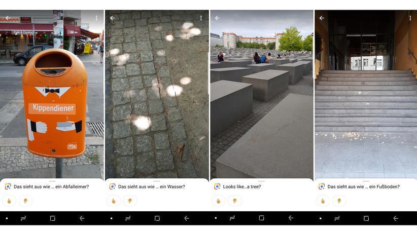 Bilderkennungs-App: Vier mit dem Smartphone gemachte Fotos von Berlin – und was Google Lens auf den Bildern zu erkennen glaubt.