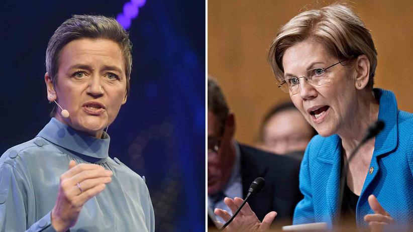 Elizabeth Warren: Die vielleicht mächtigste Reguliererin der Welt, die EU-Wettbewerbskommissarin Margrethe Vestager (links), und die US-Senatorin und mögliche demokratische Präsidentschaftskandidatin Elizabeth Warren