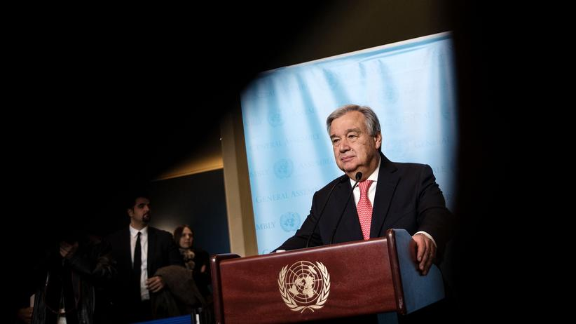 UN:  UN-Generalsekretär António Guterres auf einem Pressetermin 2016 in New York