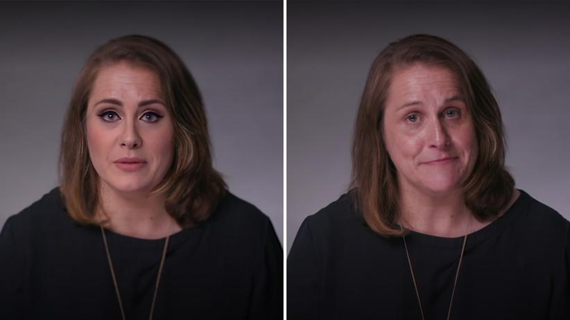 Deepfakes: Orginal (rechts) und Deepfake (links): In einem Video der New York Times verwandelt sich die Faktencheckerin Claire Wardle (rechts) in die britishce Sängerin Adele.