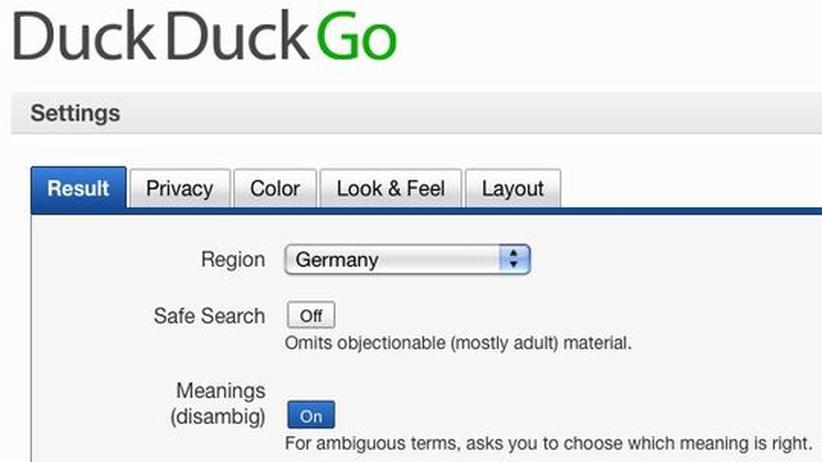 Suchmaschine: Die neue Box für individuelle Einstellungen der Suchmaschine DuckDuckGo