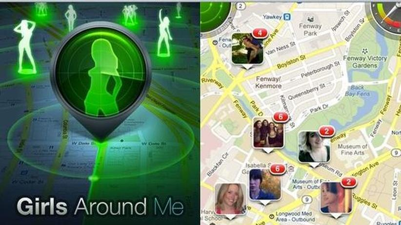 "Girls Around Me: Screenshot der App ""Girls Around Me"": Links die Startseite, rechts die Darstellung der Funktionsweise."