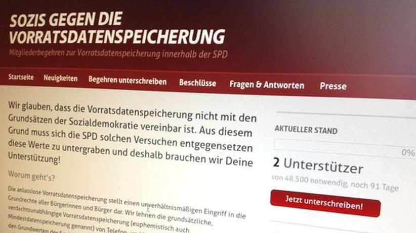 """Überwachung: Website der Initiative """"Sozis gegen VDS"""""""