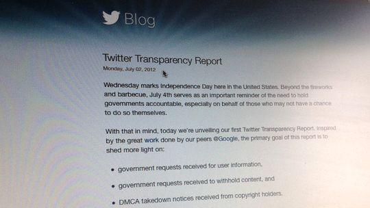 Twitter hat erstmals einen Transparency Report nach dem Vorbild von Google veröffentlicht.